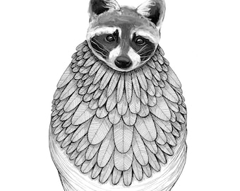 """The Gathering: The Raccoon // 5""""x7"""" Art Print – Forest Illustration"""