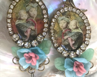 Lilygrace Japanese Children Cameo Earrings in Gold Leaf, Soft Rose, Pale Blue and Green with Peonies, Vintage Rhinestones and Glass  Beads
