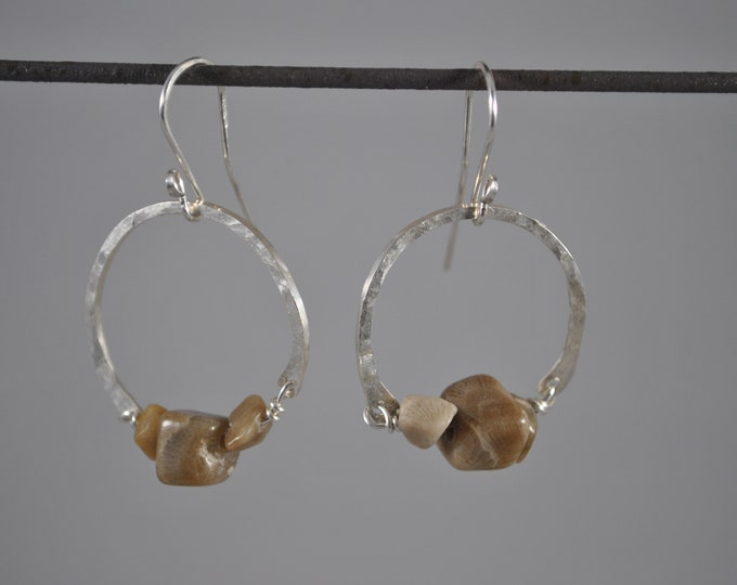 Lake Michigan Petoskey stone nugget earrings with sterling hoops, Up North