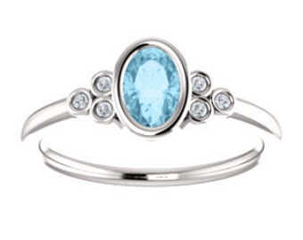 Aquamarine Diamond 14K Gold Ring, March Birthstone