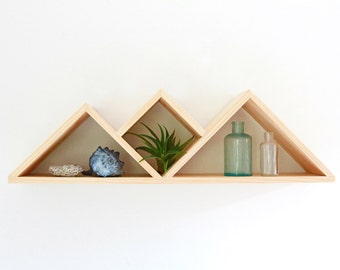 Summit Wall Shelf // Modern Shelving Unit // Handmade Wood Shelf // display, jewelry shelf, geometric wood shelf, triangles, eco, gift