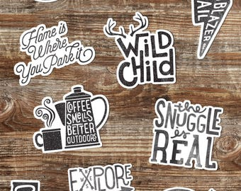 MIX & MATCH choice of 3 adventure stickers // hydro flask stickers - Outdoors stickers - vinyl laptop stickers - sticker set - sticker pack