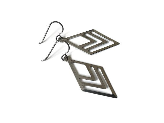 Geometric losange dangle earrings - Pure titanium and stainless steel