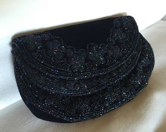 FRANCE Coblentz Navy Blue Velvet Beaded Evening Bag Purse 1950's Vintage Clutch~ BEST & Co. 5TH Ave. New York