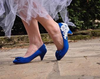Wedding shoes blue wedding shoes royal blue low heels reception shoes lace wedding shoes blue wedding shoes blue bridal shoes royal blue