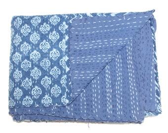"Indian Handmade Indigo Kantha Quilt Indian Twin Size Indigo Quilt,Handblock Handmade blockprint kantha quilt,blanket 60"" x 90"""