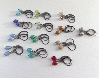 Dainty Gunmetal Earrings, Blue, Green, Turquoise, Gold, Silver, Red, Beige, Gunmetal black, Lever back, Small Hinged Earrings