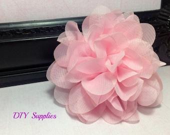 Light pink chiffon scalloped flower - fabric flowers - wholesale flowers - hair bow supplies - silk flowers - diy weddings
