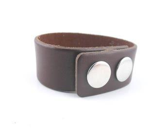 1 Leder Armband braun 24mm Tasten Druck (06)