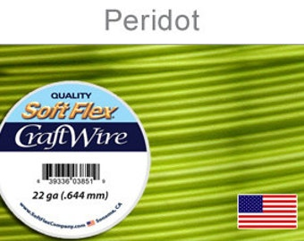 22 Gauge Peridot Soft Flex Wire, Round, Silver Plated, Non-Tarnish, Supplies, Findings, Craft Wire