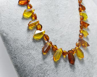 Yellow Gold-Brown Baltic Graduated Natural Amber Beaded Fashion Unisex Necklace Multicolor Genuine Amber Jewelry Fine Necklace Gift for Mom