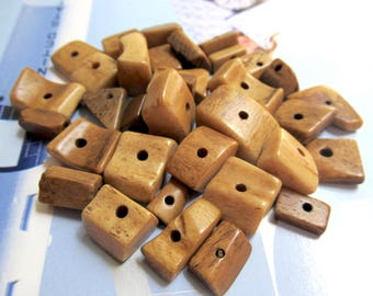 Golden Brown Bone Beads, Square Carved Buffalo Bone, Antiqued, Cube, Rectangle, Freeform Beads, Tribal Bone Mix, 30 Pcs 06032