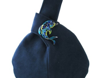 blue wristlet bag, navy blue small bag with fish broche, evening handbag , party  purse, clutch, bridesmaid purse