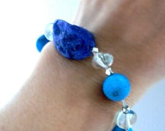Ink blue raw sodalite gemstone bracelet- Women boho stretch bracelet-Raw stone chunky bracelet- Agate lodolite bracelet-Women jewelry gift