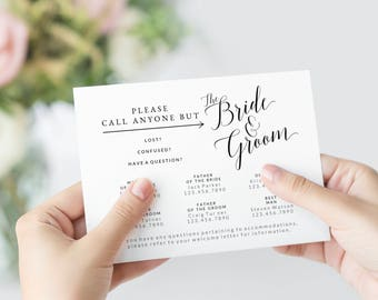 Call Anyone But the Bride and Groom Template, Wedding Contact Cards, Printable Information Cards, Phone Numbers List, Guest Bags for Wedding