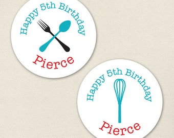Cooking Party - Custom Stickers - Sheet of 12 or 24