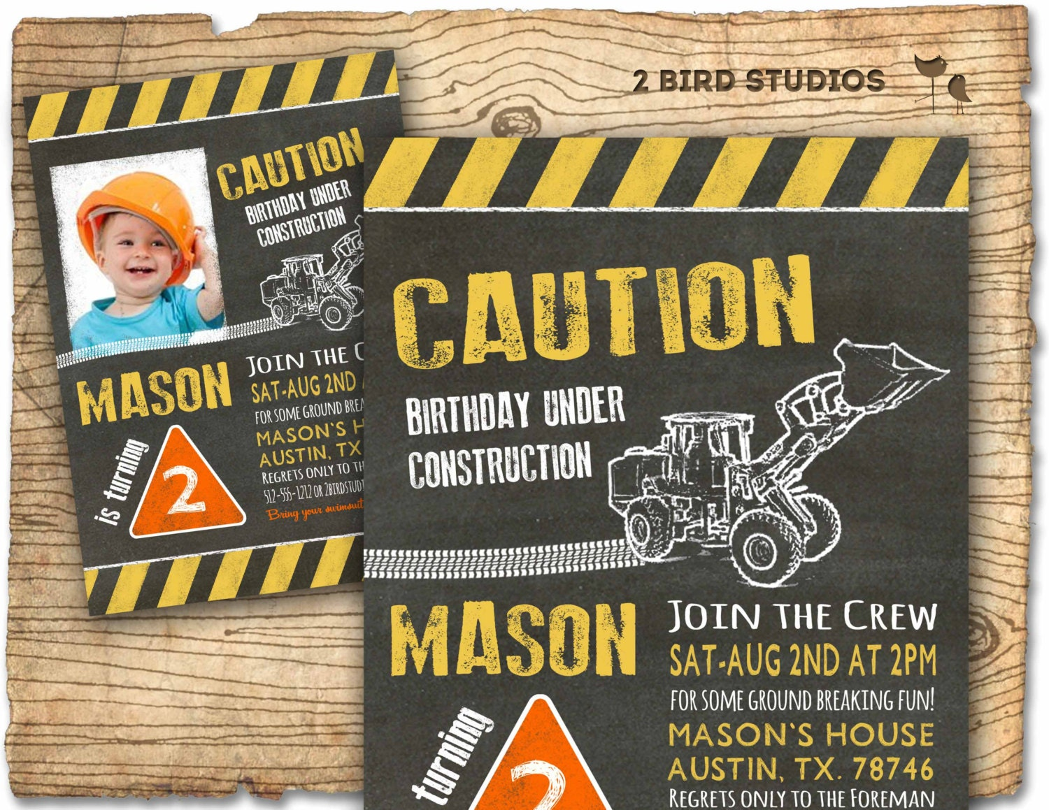 Construction invitation in chalkboard optional construction