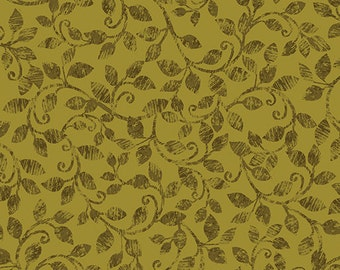 Leaf Into Autumn Scroll Olive from Benartex By The Yard