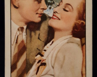 Original 1930's Joan Crawford, Robert Montgomery Cigarette Card Gallaher Ltd Cigarettes Forsaking All Others Famous Film Scenes