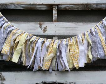 Spring Themed Vintage Inspired Rag Garland,Fabric Banner,Baby Shower Decor, Photo Prop,Backdrop Garland, Rustic Wedding Decor, Home Decor