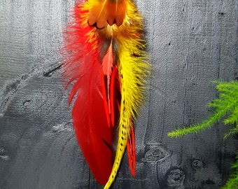Single feather earring with feather