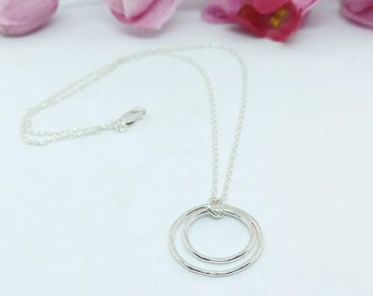 Double Circle Necklace - Mother and Daughter - Love is Eternal - Modern Layering Necklace - Minimalist Gift for Her - Sterling Silver