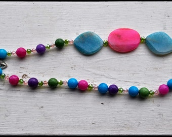 Cotton Candy Colored Necklace with Faceted Beads Crystals and a Charming Heart toggle clasp