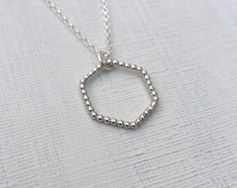 Sterling silver hexagon necklace. Geometric necklace. Hexagon pendant. Geometric pendant. Hexagon ball necklace. Gift for her. Birthday gift