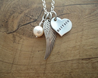 Baby Loss Angel Wing Necklace with Name - Personalized Hand Stamped Necklace - In Loving Memory Necklace - Sympathy Gift - Loss of an Angel