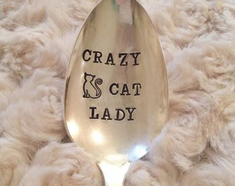 Crazy Cat Lady - Hand Stamped Spoon for Cat Lovers - kitty, cat gifts, gifts for the cat lover