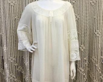 Gorgeous 1970's Saks Fifth Avenue gauzy cream lace detail tunic dress