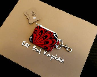 Red and Black Earbud Pouch Case Keychain