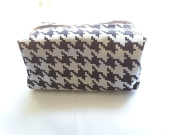 stylish zippered pouch, Cosmetic Bag, Toiletry Bag, black and white bag