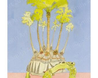 art print of original illustration, Palmed Tortois
