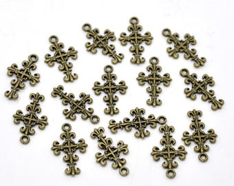 Set of 10 charms cross - bronze metal T34