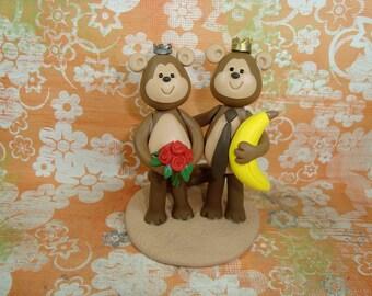 Custom Monkey Wedding Cake Topper