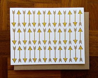 Vertical Arrows, Letterpress, Folded Note Card, Blank Inside