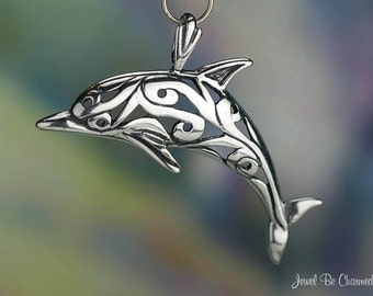 Sterling Silver Dolphin Pendant Beautiful Scrolled Design Solid .925