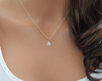 Om Necklace, Sterling Silver or Gold Ohm Aum Charm, Meditation Necklace, Yoga Necklace, Girlfriend Gift, Mothers Day Gift [404]