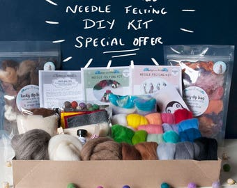 Large needle felting kit plus supplies, British wool, includes step by step instructions to make unicorn and Christmas pudding.