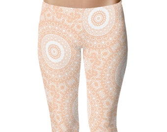 Apricot Yoga Leggings, Apricot Leggings, Peach and White Printed Leggings