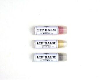 Natural Lip Balm - Eucalyptus Mint, Lemon Lavender, Mulled Wine or Citrus & Hops