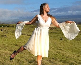 Rustic Scarf - Wedding - Natural Creme Color -  Gauze Organic Cotton - Eco Friendly - Organic Clothing