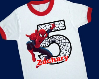 Spiderman Birthday Ringer Tee. Super Hero Birthday Shirt. Personalized with Name and Age. 1st 2nd 3rd 4th 5th 6th 7th Birthday T Shirt 25053