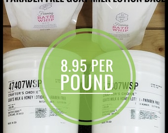 Goat Milk Lotion Unscented Paraben Free Base Crafters Choice 32 oz 2 lb pound bulk wholesale ~ Soapmaking Supplies Rim Country Soap