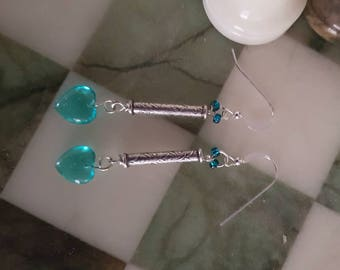 Sterling Silver 925 Teal Heart Drop Earrings with Scroll Design