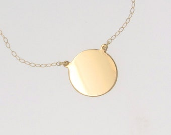14K Gold Circle Pendant Necklace - Katie Holmes, Disc, Coin Pendant Can Be Engraved, Personalized