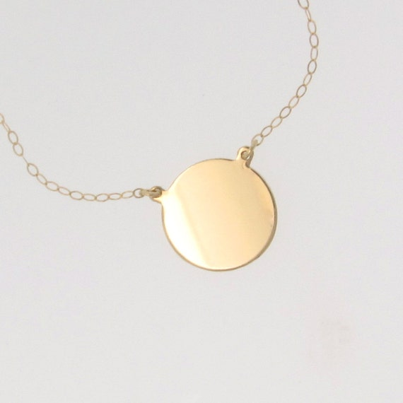 14k gold circle pendant necklace katie holmes disc coin aloadofball Gallery