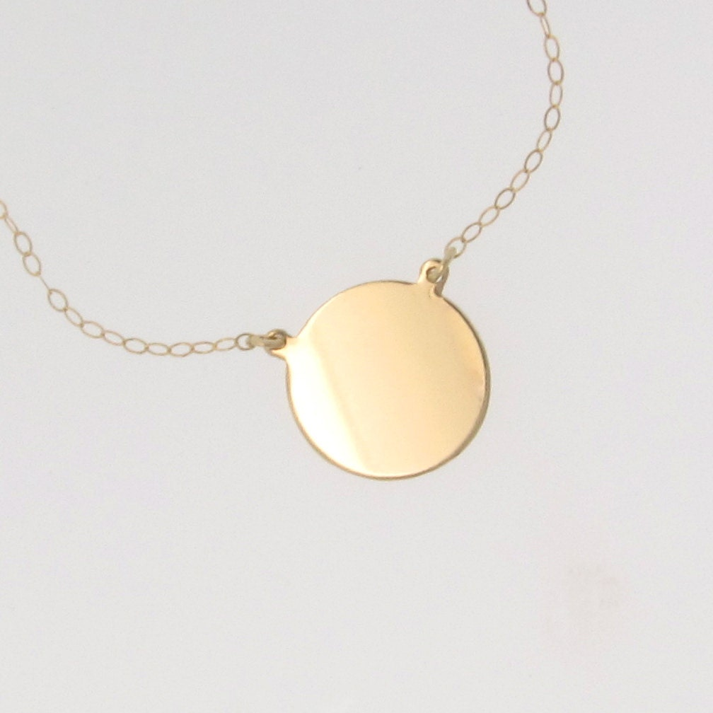 14k gold circle pendant necklace katie holmes disc coin zoom aloadofball Choice Image