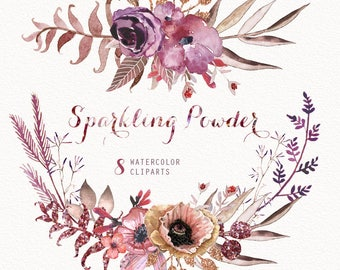 Sparkling Powder 8 Watercolor Bouquets & Wreaths, hand painted clipart, floral wedding invite, greeting card, diy clip art, flowers